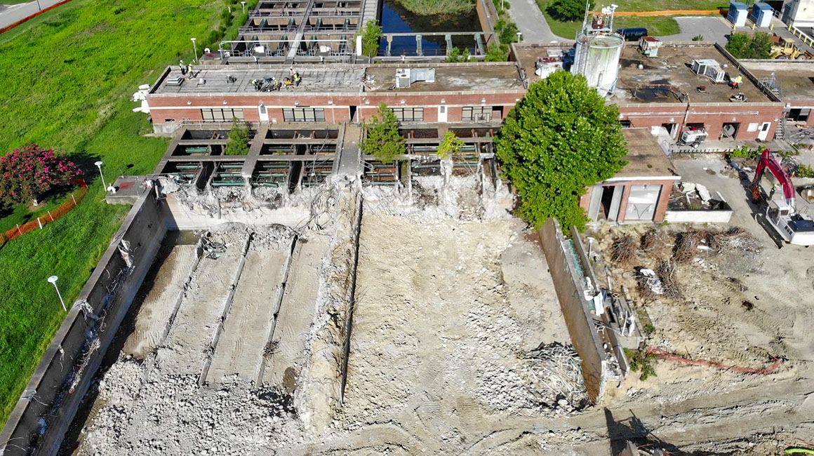 Aerial view of holding wells at treatment plant demolition