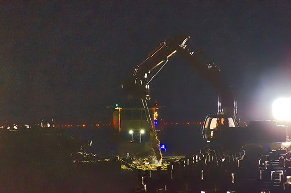 Lynnhaven Fishing Pier-view showing night operations for water based demolition