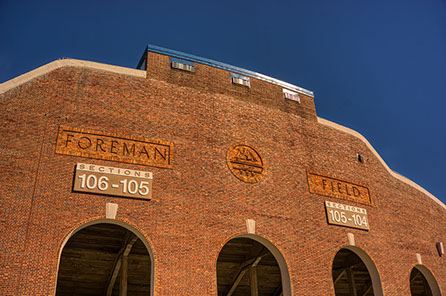 View showing brick-work of Foreman Field and logo in relief in west stadium, before it was taken down forever.