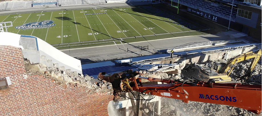 Macsons demolishes Foreman Field Stadium at Old Dominion University, (ODU).