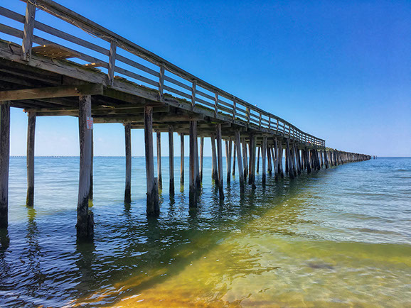 Lynnhaven Fishing Pier-view showing damaged pilings from time and exposure