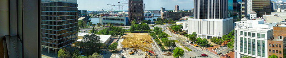 Panorama of Norfolk City Court demolition